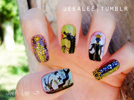 Sleeping Beauty Nails by jeealee