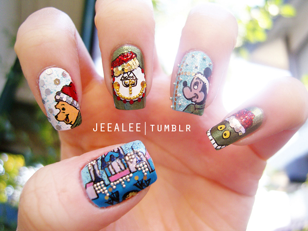 Disney Christmas Nails by jeealee