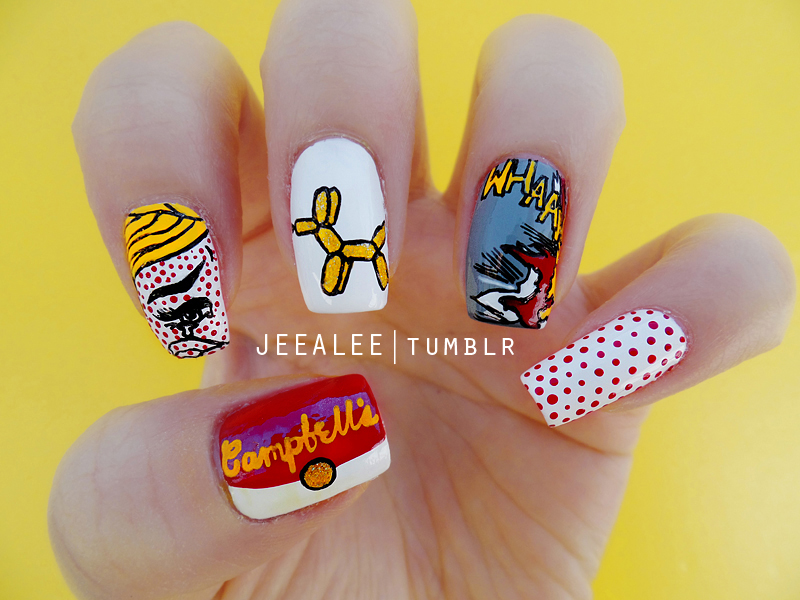 Pop art nails by jeealee on deviantart pop art nails by jeealee prinsesfo Choice Image
