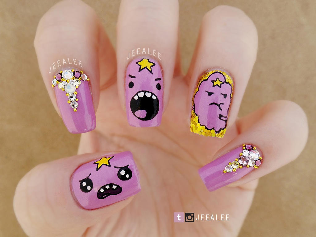 Lumpy Space Princess Nails by jeealee on DeviantArt