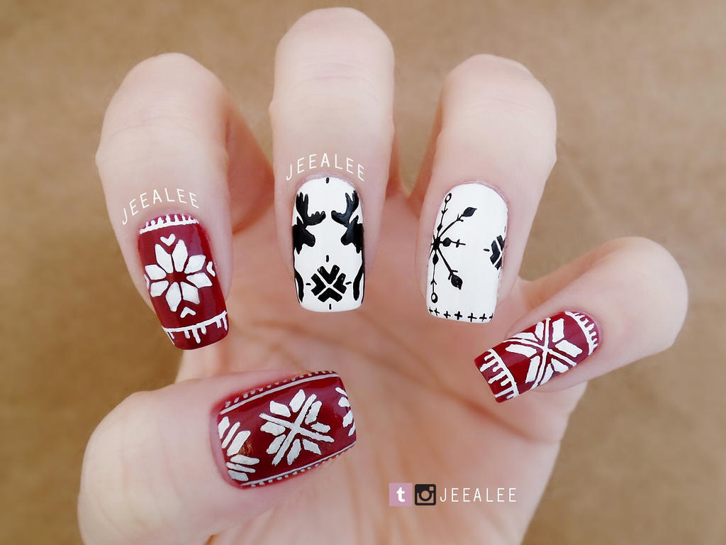 Christmas Sweater Nails By Jeealee On Deviantart