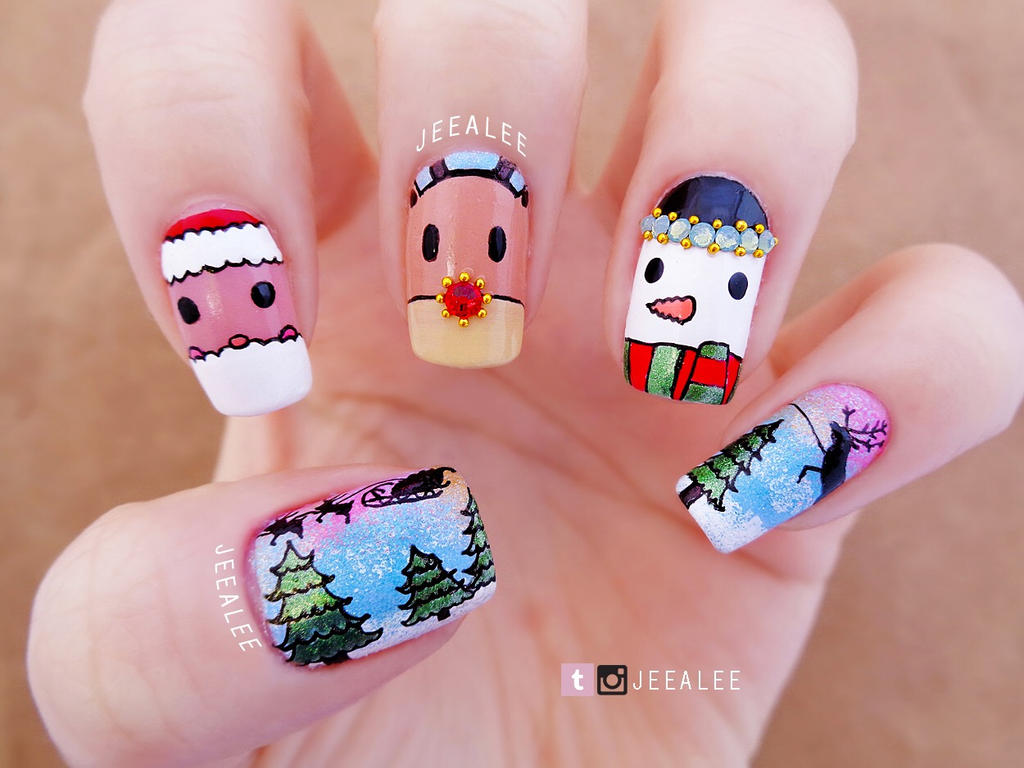 Christmas Nails by jeealee