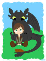 Lil Hiccup and Toothless by PrettyKitty