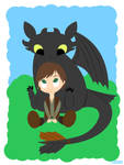 Lil Hiccup and Toothless