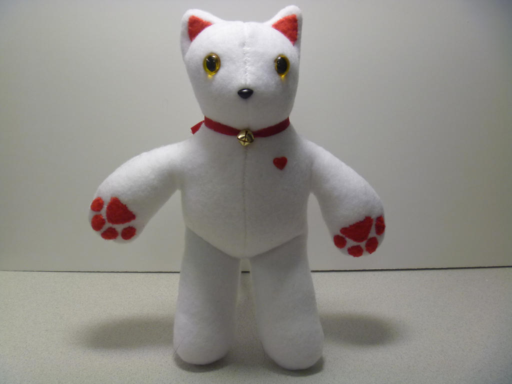 White BooBoo Kitty w/Red Accents and Heart by InnocentFreespirit