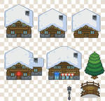 Snow village tiles