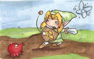 Link vs Octorock: color by Butterscotch25