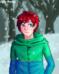 Cute Boi in a snowy forest