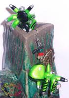 Green Tachikoma earrings 2