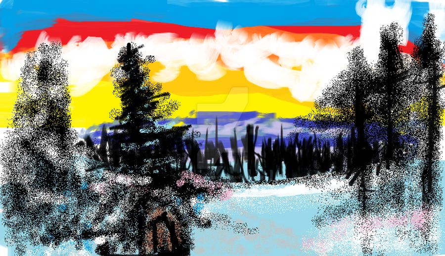 Bob Ross Winter's Peace In Microsoft Paint by ShadowStar411