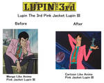 Before and After Pink Jacket Lupin III by Catholic-Ronin
