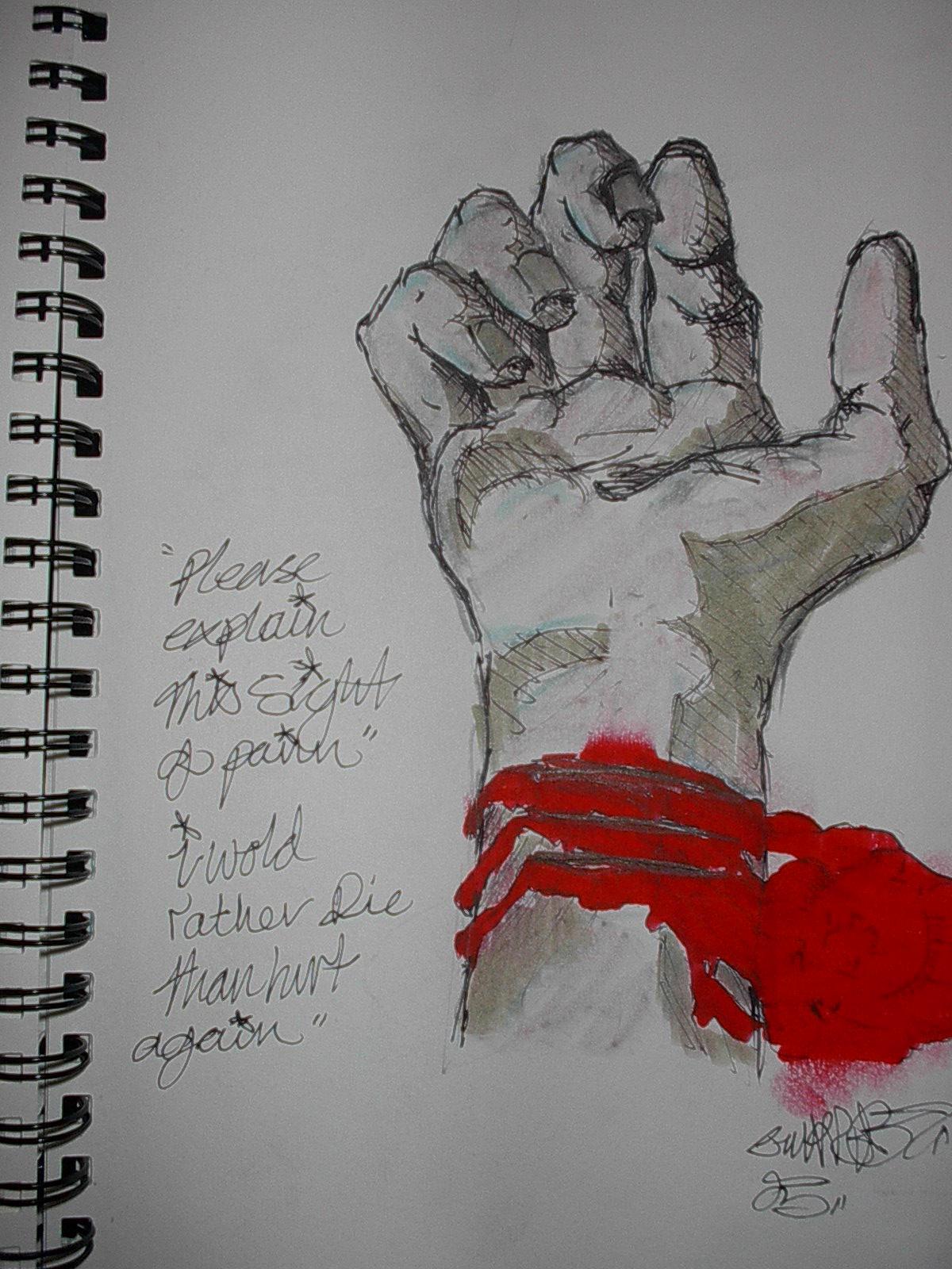 bleeding wrist drawing - HD1200×1600