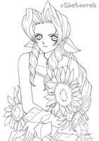 Aeris with sunflowers BW by Khateerah