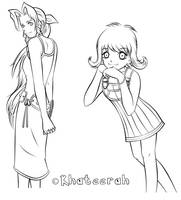 Aerith and Selphie BW by Khateerah