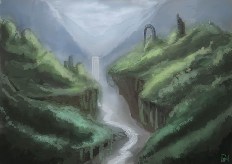 Mountain scenery by Aon616