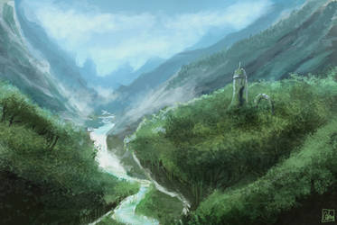 Mountain scenery #1 remake by Aon616