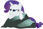 Rarity pouting on a rock