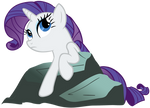 Thoughtful Rarity on a rock