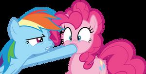 Rainbow Dash shushing Pinkie Pie by CloudyGlow