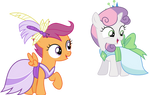 Gala Scootaloo and Sweetie Belle by CloudyGlow