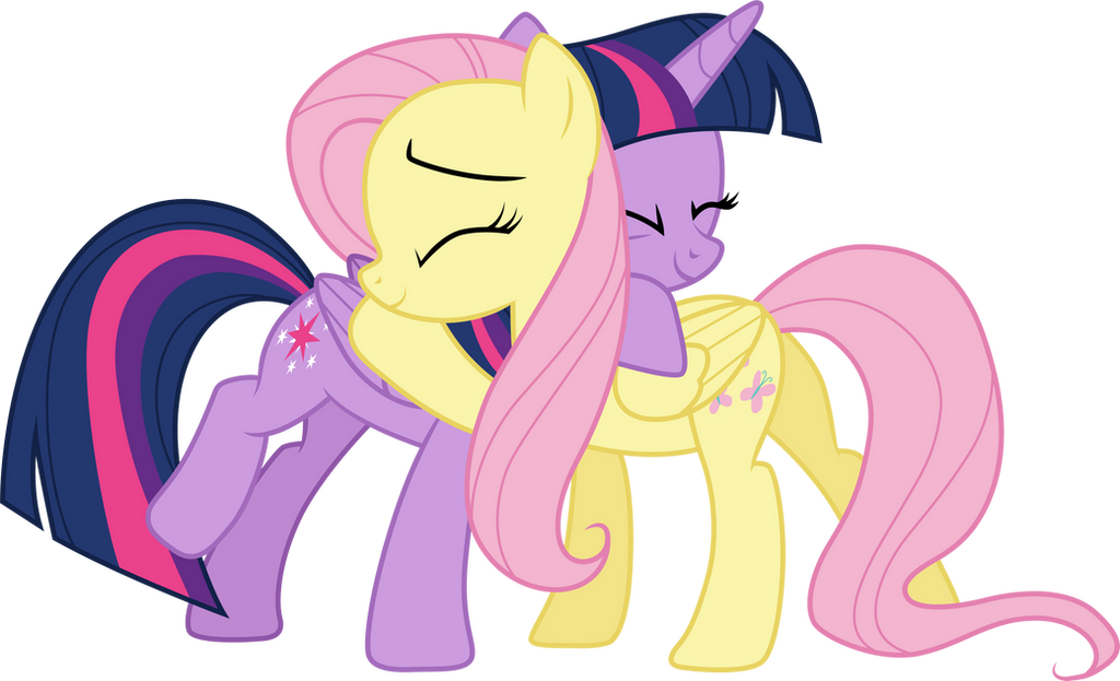Twilight Sparkle and Fluttershy Hugging by SilverMapWolf