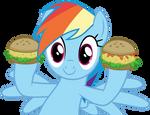Rainbow Dash with hayburgers