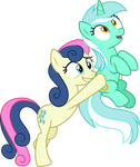 Bon Bon carrying Lyra Heartstrings