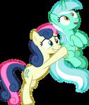 Bon Bon carrying Lyra Heartstrings