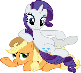 Rarity on Applejack by CloudyGlow