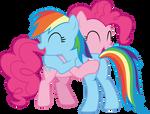 Pinkie Pie and Rainbow Dash hugging