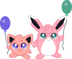 Jigglypuff and Wigglytuff by CloudyGlow