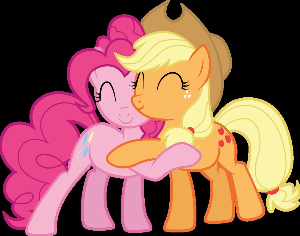 Applejack and Pinkie Pie hug by CloudyGlow