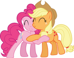 Applejack and Pinkie Pie hug
