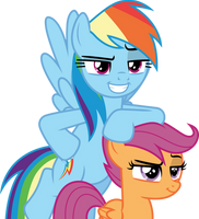 Smirking Rainbow Dash and Scootaloo by CloudyGlow