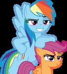 Smirking Rainbow Dash and Scootaloo