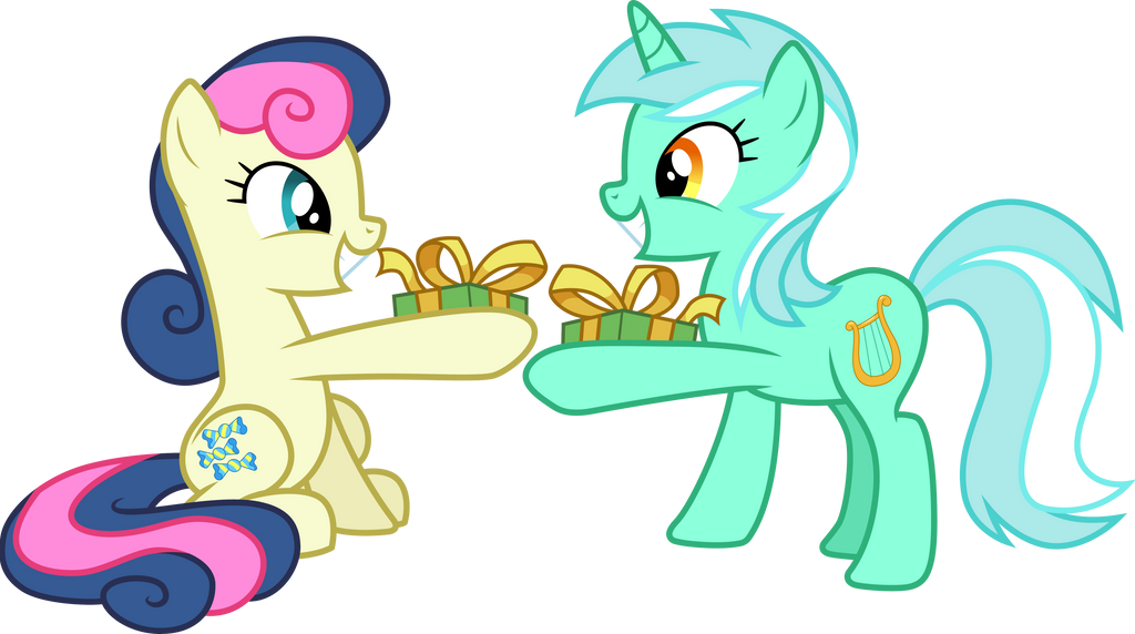 Lyra And Bon Bon Exchanging Gifts By Cloudyglow On Deviantart