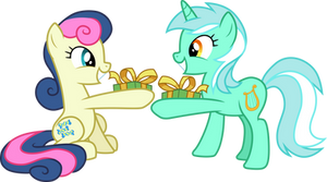 Lyra and Bon Bon exchanging gifts