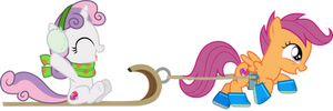Scootaloo and Sweetie Belle sled ride
