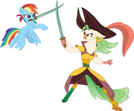 Rainbow Dash sword-fighting Captain Celaeno by CloudyGlow