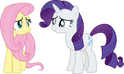 Fluttershy and Rarity 2 by CloudyGlow