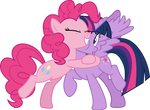 Pinkie Pie hugging Twilight Sparkle by CloudyGlow