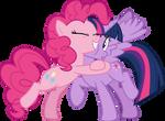 Pinkie Pie hugging Twilight Sparkle