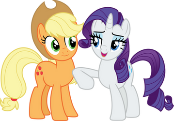 Rarity nudging Applejack by CloudyGlow