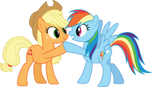 Applejack and Rainbow Dash hoof-bump