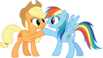 Applejack and Rainbow Dash hoof-bump by CloudyGlow