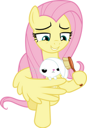Fluttershy brushing Angel by CloudyGlow