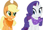 Applejack and Rarity in bandanas by CloudyGlow