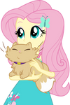 Fluttershy with a cat by CloudyGlow