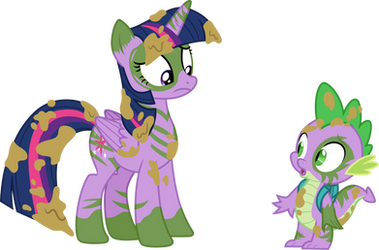 Painted Twilight and Spike by CloudyGlow