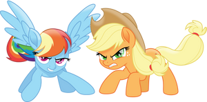 Protective Rainbow Dash and Applejack